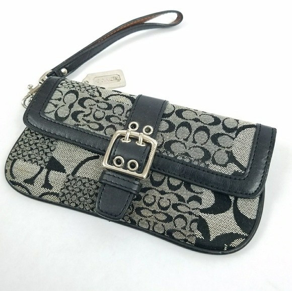 Coach Handbags - Coach Black Gray Wristlet Bag Purse Signature C